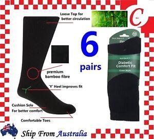 6 Pairs DIABETIC BAMBOO Socks Work Socks Medical Loose Top Crew Cushion Bulk New
