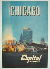 CAPITAL AIRLINES CHICAGO Vintage Airlines Travel poster 1958 24x36 NM LINEN BACK