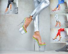 Transparente Zapatos Mujer Nachtclub-Party de Tacón Plataforma XXXL Gogó Alto