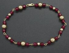 NEW 14K Solid Yellow Gold and Natural Ruby Round Bead Bracelet 8""
