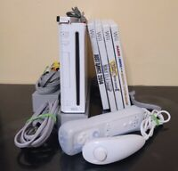 Nintendo Wii Console Bundle W/4 Games, Motion Controller & All Cables Complete