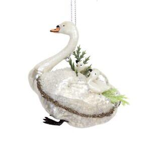 Gisela Graham Glass Swan with Cygnets Hanging Decoration - Novelty Decoration