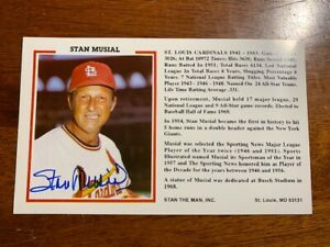 STAN MUSIAL AUTOGRAPHED HALL OF FAME POSTCARD