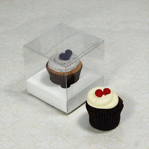 25 counts x 7.5cm(3 inches) Clear Mini Cupcake Boxes with white nsert