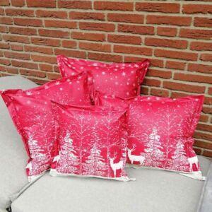 Kissenbezug für den Winter: Hirsch im Schnee in rot und weiß - Gartenkissen