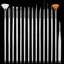15PCS Nail Art Pinceau Brosse Pen Ongles Gel UV Peinture Dessin Manucure Kit HG