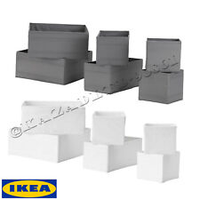 IKEA SKUBB set of 6 Drawer Organiser Storage Cloth Boxes Wardrobe White/ Grey