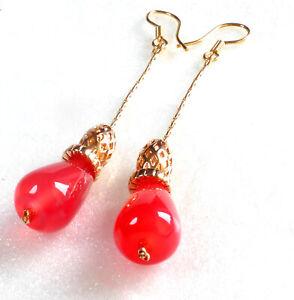 Women Red Agate 65mm Long Oriental Hook Dangle Earrings 18K Yellow Gold Plated