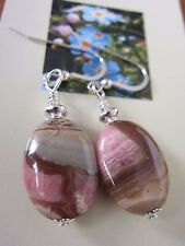 EARRINGS Nat Lace Pink Rhodochrosite GemStone 925 Silver Kirsten USA Made Gift