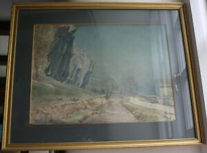 English School Watercolour Painting - White Cliffs, framed and signed