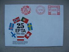 SWITZERLAND, ill. eventcover 1985, CTO meterstamp 25th ann. EFTA