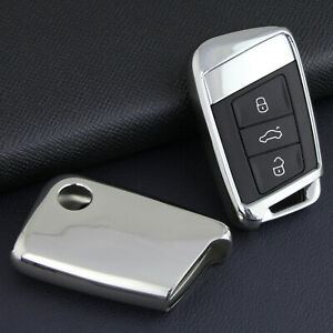 For VW Passat/Atlas Skoda Superb/Kodiaq Silver Car Smart Key Cover Case Holder