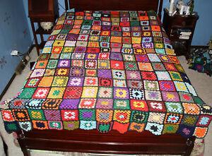 Vintage Handmade GRANNY SQUARE Afghan Blanket Throw - 88 x 60 - NICE Boho Look!