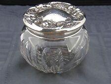 schöne Kristall-Schale mit Silberdeckel 925/- Sterling