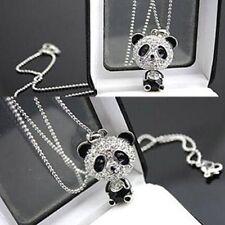 Cute Women Delicat Fashion Necklace Rhinestone Panda Pendant Chain Jewelry Gift