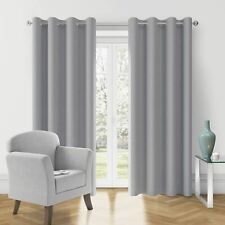 FUSION Fully Lined Eyelet Curtains Charcoal / Silver  Curtain Pairs /117 x183cm