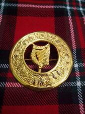 TC Highland KILT MOUCHE Plaid Broche IRLANDAIS Harpe OR / celtique