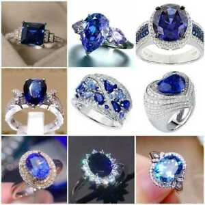 Gorgeous Blue Sapphire 925 Silver Rings Women Jewelry Engagement Rings Size 6-10
