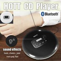 HOTT CD711T Portable Bluetooth CD Player Bass LCD Music Car BT Walkman+Earphones