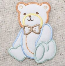 Iron On Embroidered Applique Patch Childrens Puffy Pastel Baby Boy Teddy Bear