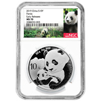 2019 10 Yuan Silver China Panda NGC MS70 Panda ER Label