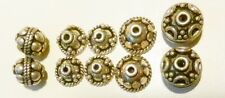 6 Sterling Silver Bead Caps & 4 s/s Beads~10 pc Assortment~Bali-Vintage-16.3 gms