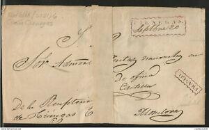 J) 1820 MEXICO, PRESTAMP, CIENEGAS NUEVO LEON, ORNAMENTAL CANEL IN RED NOT REGIT