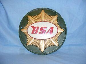 BSA Sign Cast Iron Advertising Garage Man Cave Motorbike Wall Sign  Green
