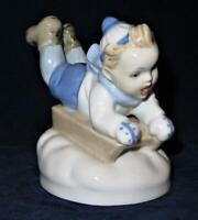 Vintage Royal Dux Bohemia Porcelain Figurine Boy on Sled