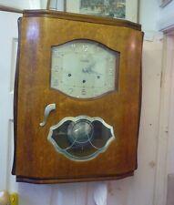 Reloj de pared Original Art Deco Nogal Westminster Timbre completo funcionamiento (6)