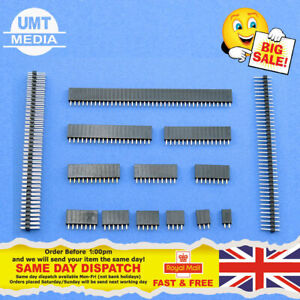 "10 x Female Or Male Header Pins Strip 0.1"" 2.54mm for Breadboard PCB for Dupont"