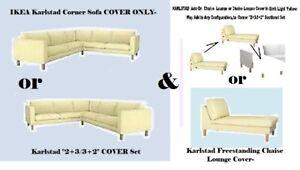 "IKEA Karlstad Corner Sofa + Chaise Lounge Cover ONLY""2+3/ 3+2""Sivik Light Yellow"