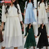 Women Casual Polka Dot Flared Swing Dress Ladies V Neck Long Sleeve Midi Dresses