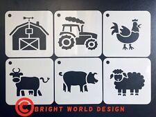 Farm Stencil Set x6 Cards Craft Kids Wall Paint Airbrush Art Mylar 190 micron