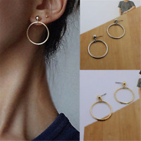 Fashion Women Gold Silver Plated Big Circle Smooth Large Ring Hoop Earrings Gift