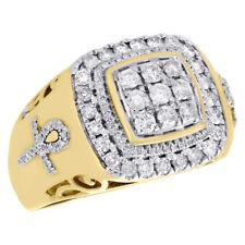 10K Yellow Gold Diamond Egyptian Ankh Cross Pinky Ring Statement Band 0.98 CT.