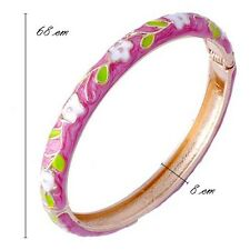 Womens Gold Filled enamel bangle cuff bracelet Jewelry Gift with flower leaves