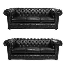 Chesterfield Design Luxus Polster Sofa Couch Sitz Garnitur Leder 3+3 Neu #75