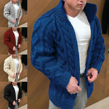 Mens Chunky Cable Knitted Sweater Warm Cardigan Coat Jumper Knitwear Outwear Hot