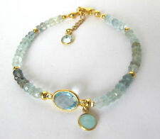 Aquamarin Armband, Blautopaz, 925 Silber vergoldet