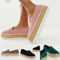 Womens Platform Espadrilles Pumps Ladies  Slip On Comfy Loafers Shoes Size