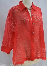 Mirasol Blouse Top Burnout SHIRT Button Top jungle animal 3/4 sleeve SIZE XL NEW