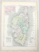 1881 Antico Francese Mappa Ajaccio Corsica Corse Vecchio Mano Colorato Incisione