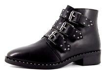 Asos Para Mujer Reino Unido 8 Negro Cuero Triple Hebilla De Plata Con Tachas Cremallera Botas al tobillo