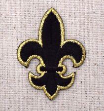 Large Black/Gold Fleur De Lis - Saints - Iron on Applique/Embroidered Patch