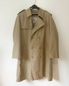 Vintage Trench Coat Double Breasted Lined Removable Liner Rain Jacket Sz 42 R