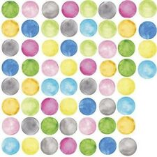 WATERCOLOR POLKA DOTS 60 Wall Decals Green Yellow Pink Blue Room Decor Stickers