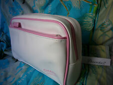 CHANEL Cosmetic travel case makeup bag Clutch white Pink