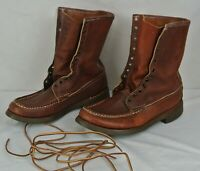 vintage W.C Russell Moccasin Co Brown Leather Hunting Work Boots Mens Size 7 E