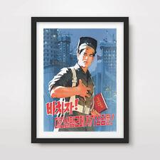 NORTH KOREAN KOREA PROPAGANDA POSTER Art Print Juche Ideology Communist Politics